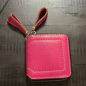 True Religion Pink Leather zipnup wallet